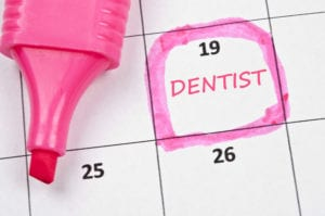 Calendar reminder for upcoming dental appointment.