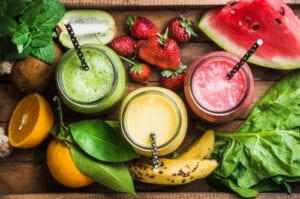 photo of fresh fruits, vegetables, and smoothies