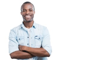 smiling African-American man against white background