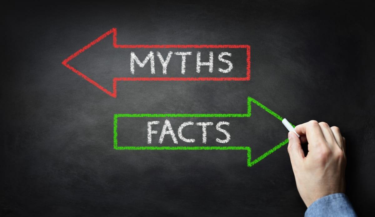 myths vs facts written on chalkboard