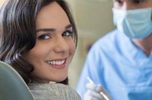 female patient in a dental office