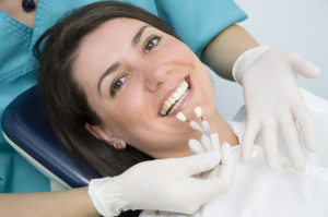 woman at dentist deciding on dental implants
