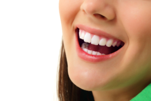 young woman's beautiful white smile